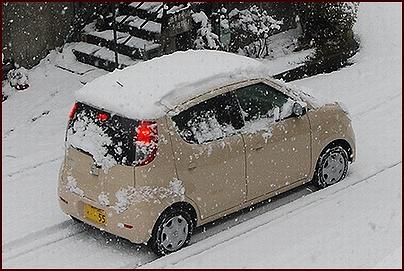 雪を載せて出発