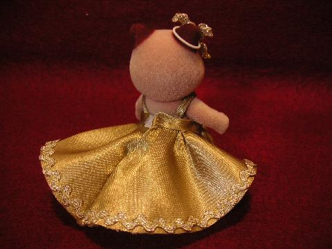 女の子のドレス金・緑2