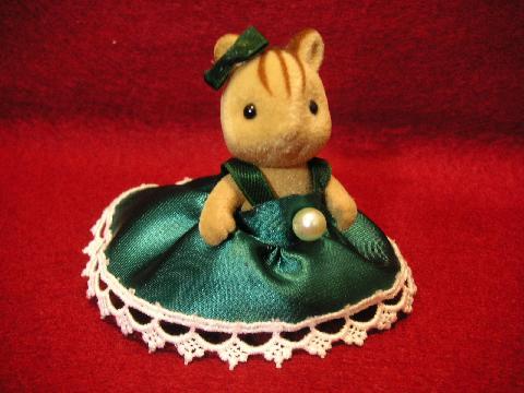 女の子のドレス金・緑3
