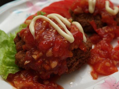 ミンチカツにトマトソース