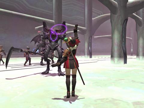 第4層:中央にいるデーモン3匹のうち召喚タイプを倒して戦士タイプと戦闘中です^^