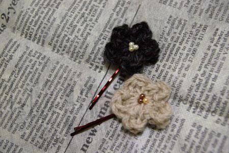 毛糸のヘアピン2