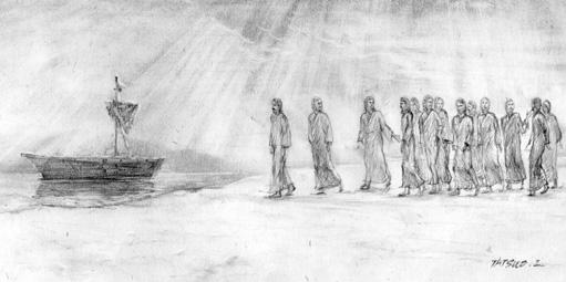 舟に乗り込むイエスと弟子たち