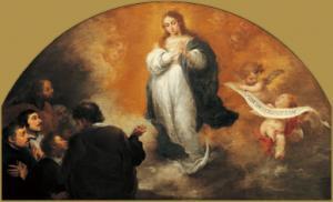6人の人物の前に現れる無原罪の聖母~ベルトロメ・エステバン・ムリーリョ