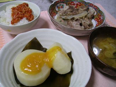 081126ふろふき大根、大根と豚肉の重ね蒸し、大根とワカメの味噌汁、ご飯(キムチなめたけ)