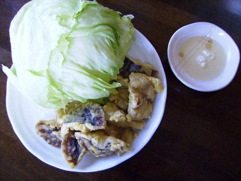 韓国風しいたけの葉野菜包み