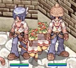 羽ベレー&灰毛糸帽