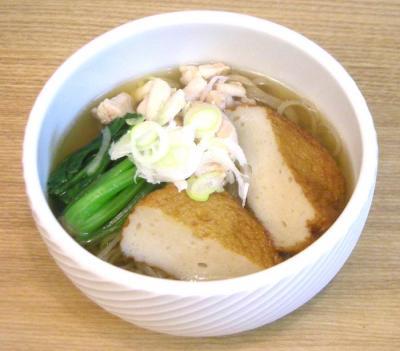 温かいお蕎麦 さつまあげとほうれん草 2008.10.6