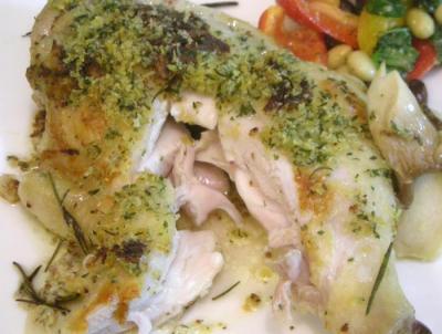 チキンの香草オーブン焼き しとり、柔らかに焼き上がり。2008.10.7