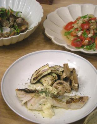 魚、貝、野菜を満喫。たらのオーブン焼き レモンとチーズのソース 2008.10.11