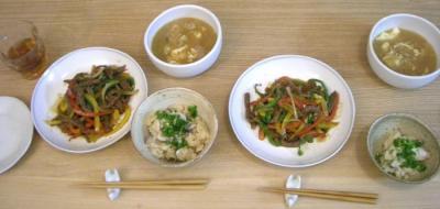 青椒肉絲と牡蠣の炊込みご飯 2008.10.16