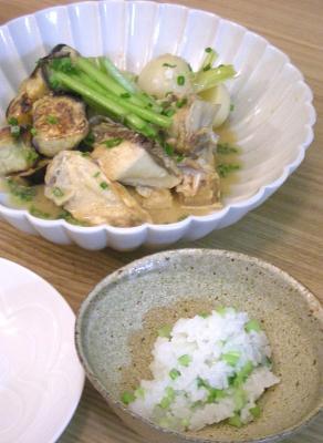 ぶりかまとカブと茄子の味噌煮とカブの入り新米ご飯 2008.10.20