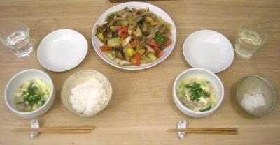 夜は中華、野菜たっぷり酢豚です。2008.10.18
