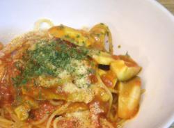 豚肉とエリンギのトマトスパゲティ 粉チーズとドライパセリ 2008.10.30
