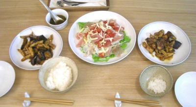 茄子と豚肉の味噌炒めとサラダ 2008.11.4
