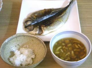 あじの干物のお家ごはん定食 2008.11.10