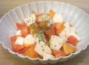 長いもと柿とトマトのさっぱりサラダ。2008.11.11