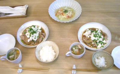 豚の生姜焼きとスープとサラダ 2008.111.12
