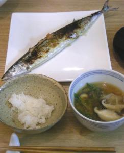 今年初!秋刀魚定食 ごはんとお味噌汁 2008.11.13