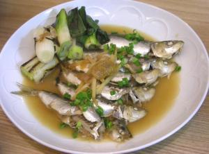 いわしと梅と生姜の煮付け 焼きネギを添えて 2008.11.15