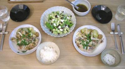 鶏肉と野菜たっぷりのオーブン焼きとクリスマスサラダ 2008.11.17