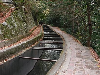 水路閣の上の、つまりは水路