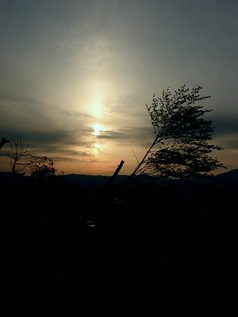 夕陽にシルエット