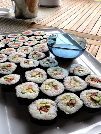 sushi at the party