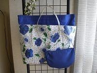 白地花柄トートバッグ 中バッグ