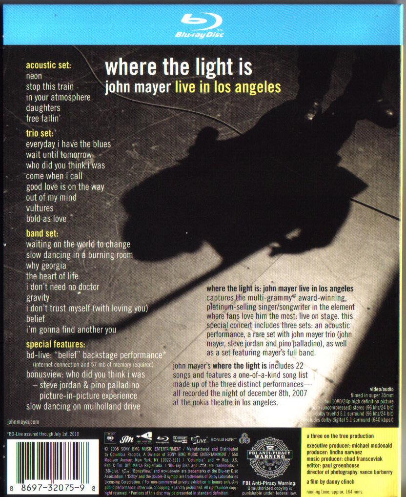 John Mayer Live In La: Blu-rayソフト評価Blog -John Mayer: Where The Light Is( Live In