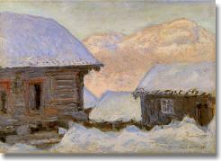雪中の家とコルサース山