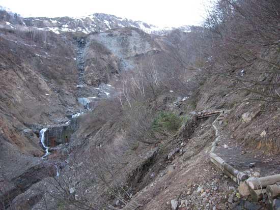 沢沿いの登山道