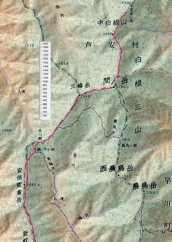 地図 北岳山荘〜三伏峠小屋