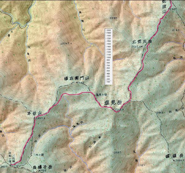 地図 北岳山荘〜三伏峠小2