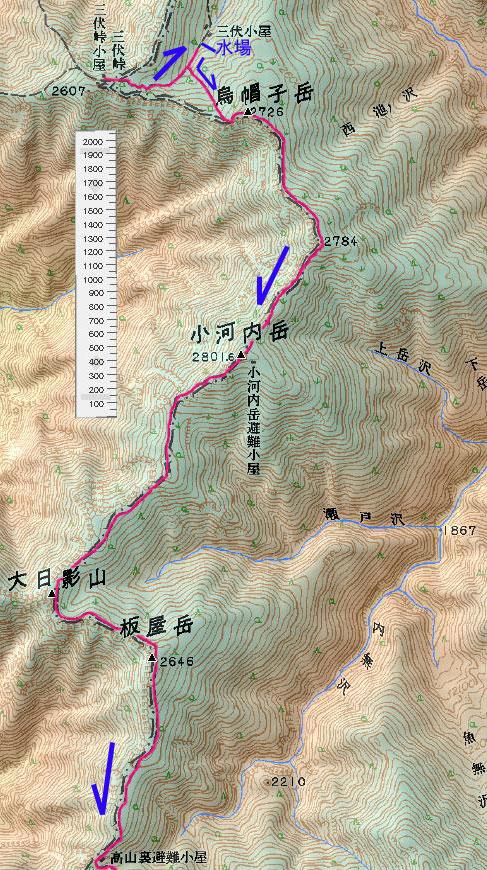 三伏峠~高山裏避難小屋