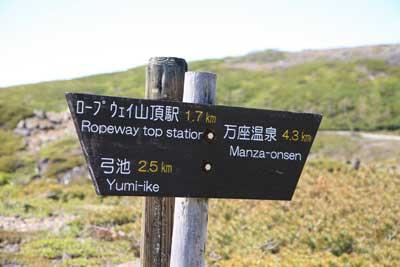 山頂までの標識