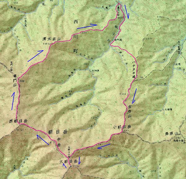 大朝日岳ルートマップ
