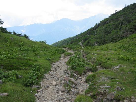 前方に見える山へ