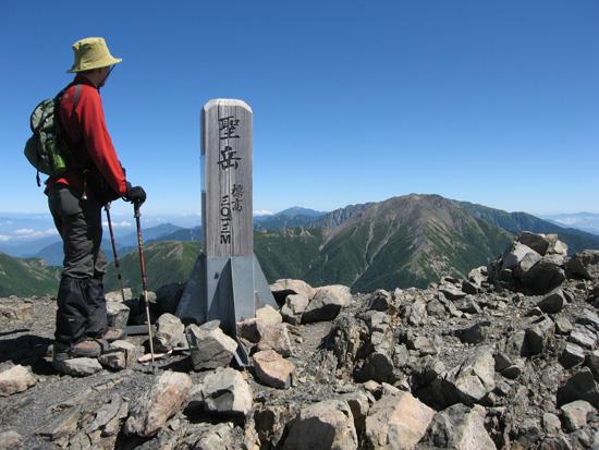 聖岳の山頂にて