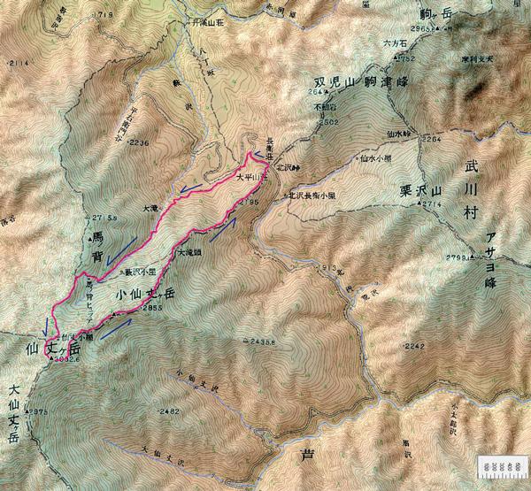 仙丈ヶ岳の地図