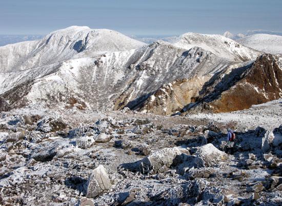 岩と雪と登山者
