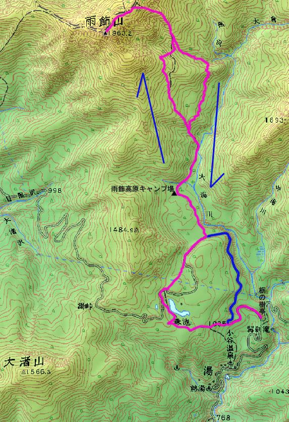 雨飾山の地図