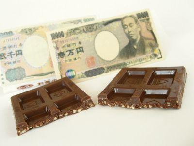 正栄食品--お金のチョコ。