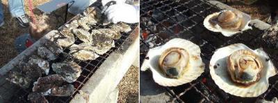 焼牡蠣にホタテ