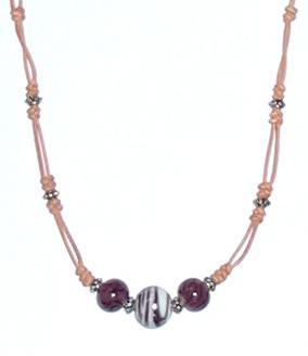 紫とんぼ玉ネックレス