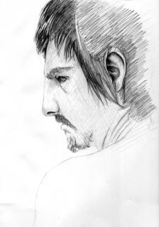 途中の絵の男