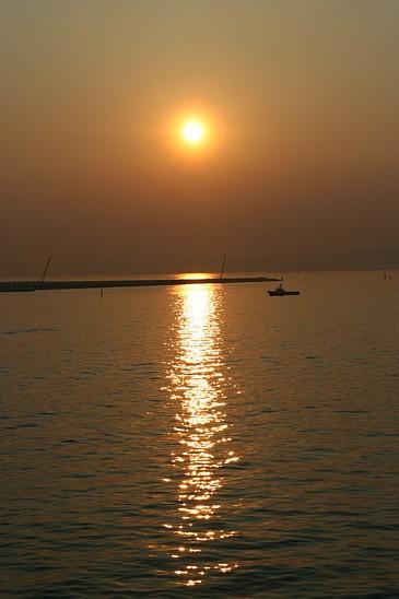 九州 2009GW フェリーから見た夕日