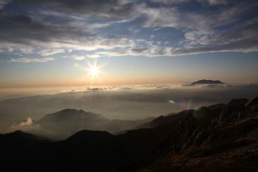 空木岳山頂から夕焼け その1