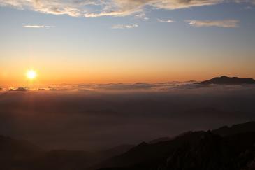 空木岳山頂から夕焼け その2