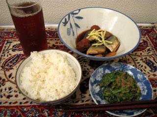 秋刀魚の梅煮&ほうれん草の胡麻和え